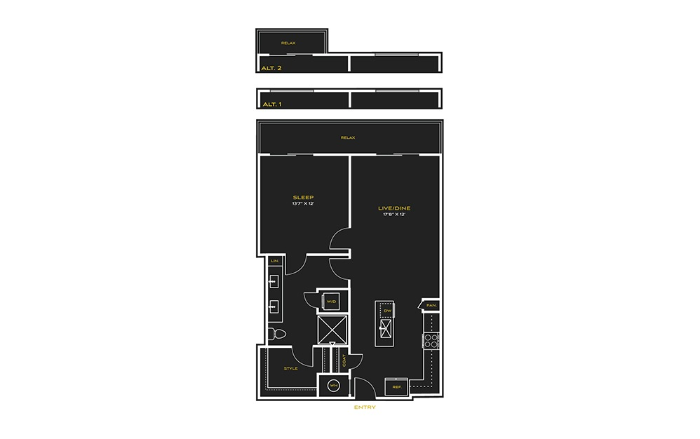 1B-A - 1 bedroom floorplan layout with 1 bath and 793 square feet.