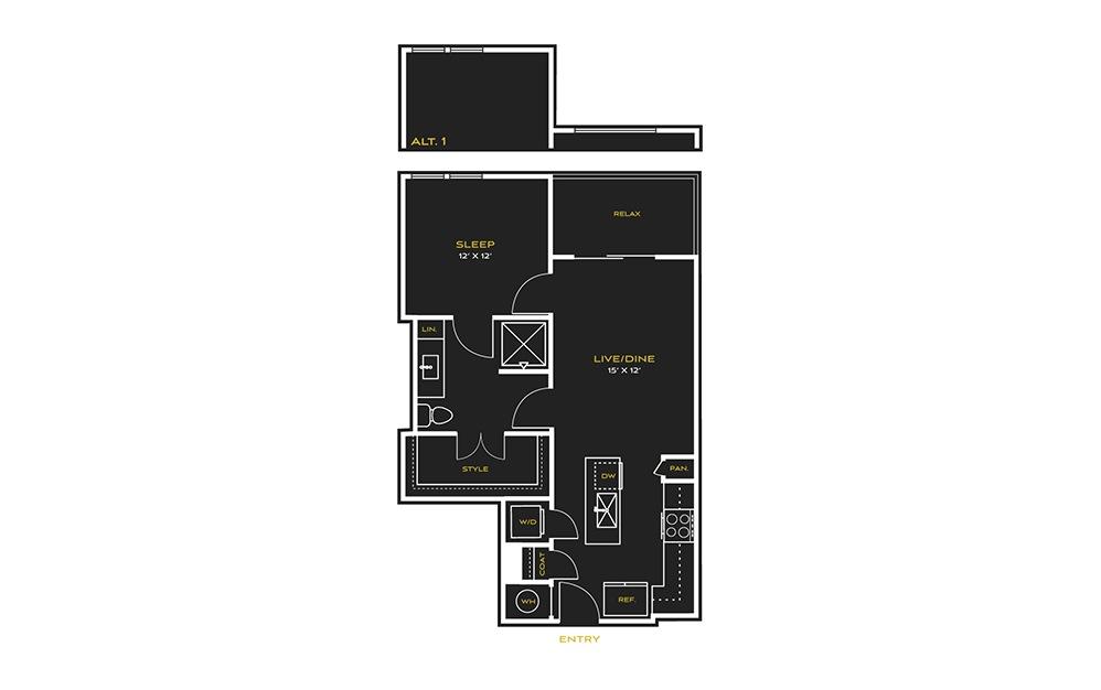 1B-B - 1 bedroom floorplan layout with 1 bath and 734 square feet.