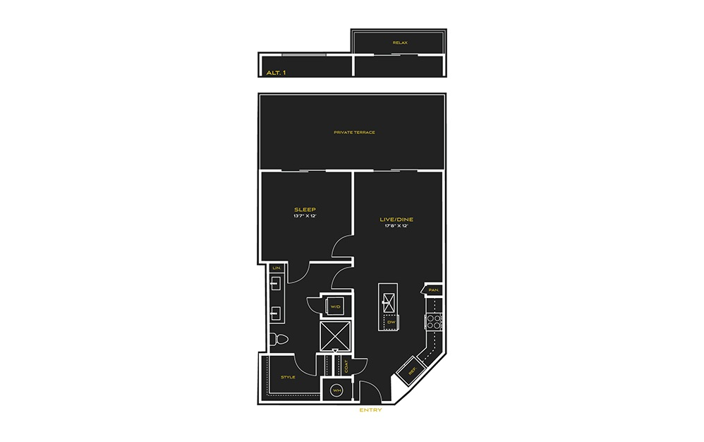 1B-D - 1 bedroom floorplan layout with 1 bath and 724 square feet.