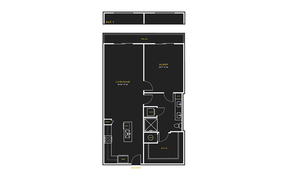 1B-E - 1 bedroom floorplan layout with 1 bath and 887 square feet.