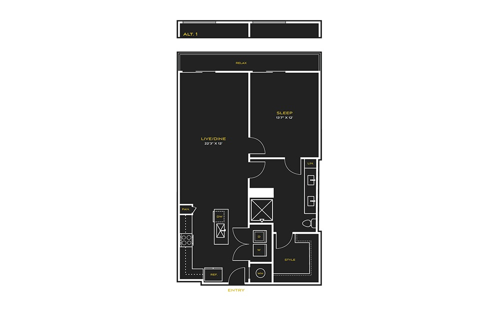 1B-E Type A - 1 bedroom floorplan layout with 1 bath and 886 square feet.