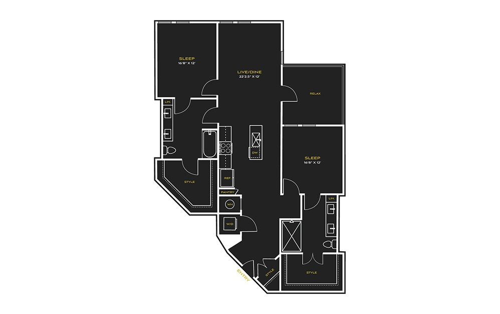 2B-B - 2 bedroom floorplan layout with 2 baths and 1444 square feet.