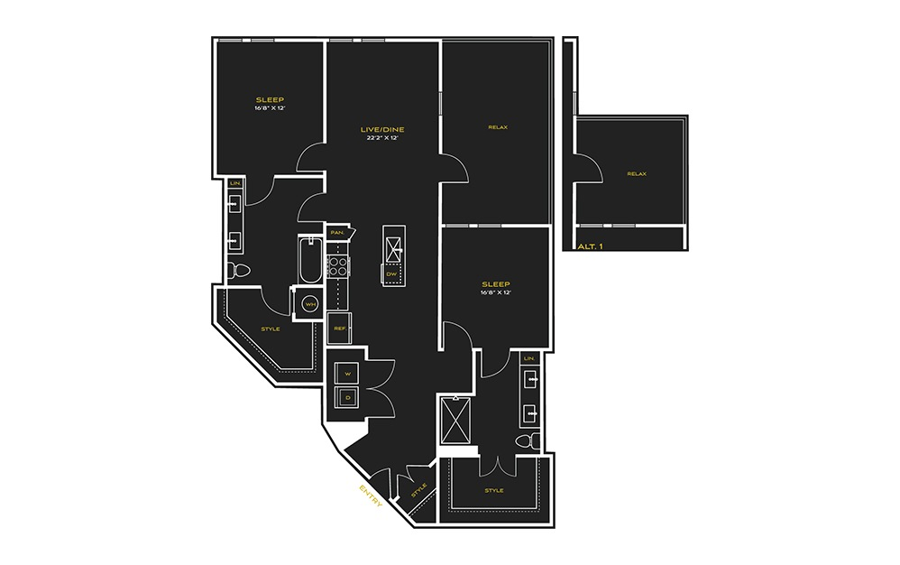 2B-B Type A - 2 bedroom floorplan layout with 2 baths and 1444 square feet.