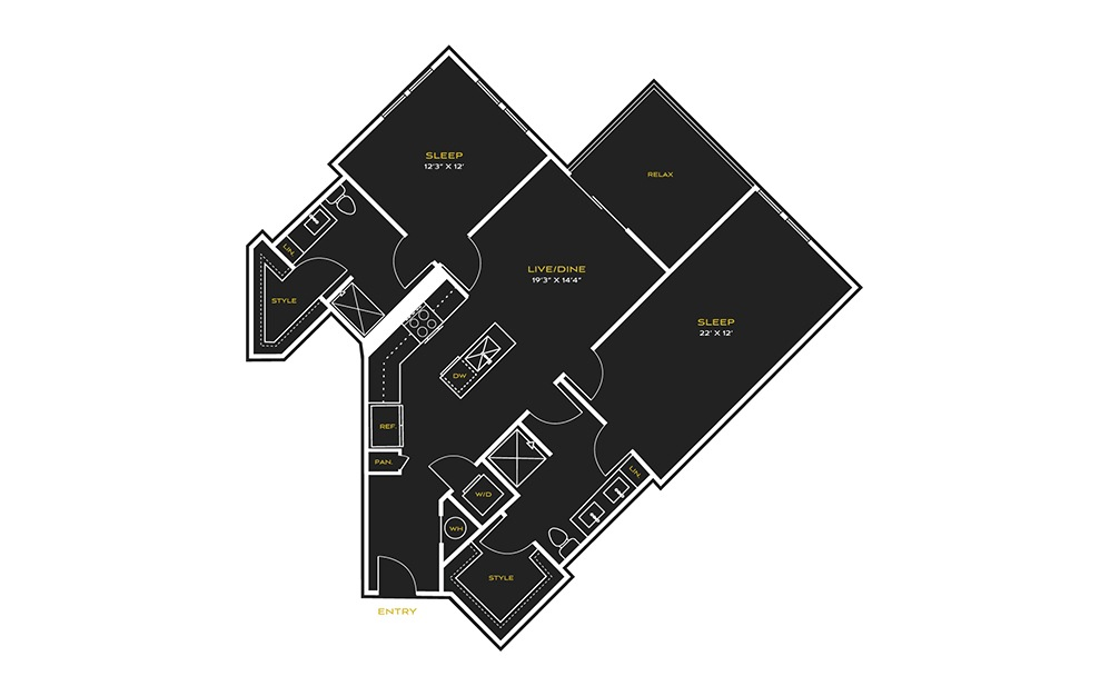 2B-F2 - 2 bedroom floorplan layout with 2 baths and 1270 square feet.