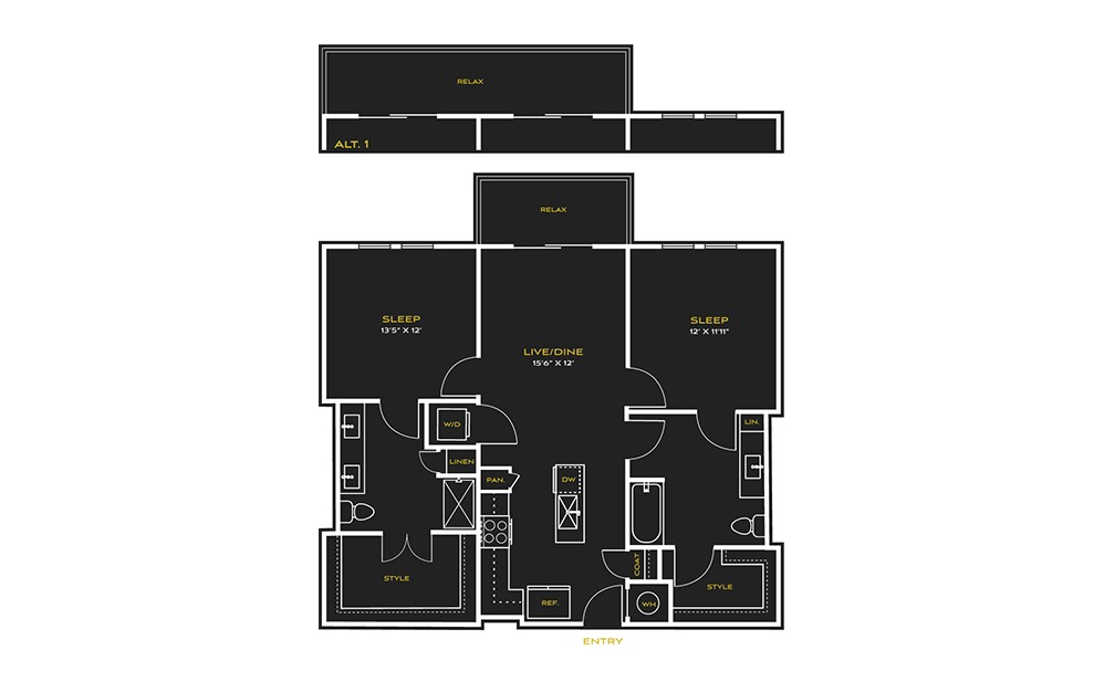 2B-H - 2 bedroom floorplan layout with 2 baths and 1113 square feet.