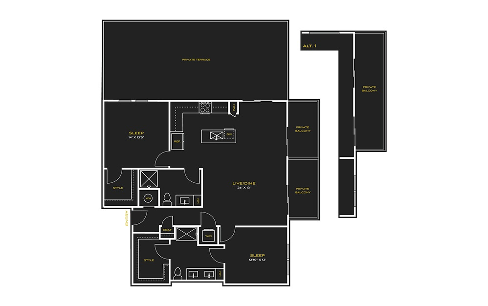 2B-J - 2 bedroom floorplan layout with 2 baths and 1399 square feet.