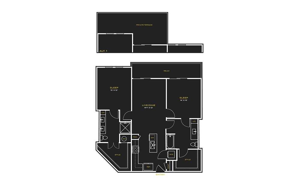 2B-K - 2 bedroom floorplan layout with 2 baths and 1207 square feet.