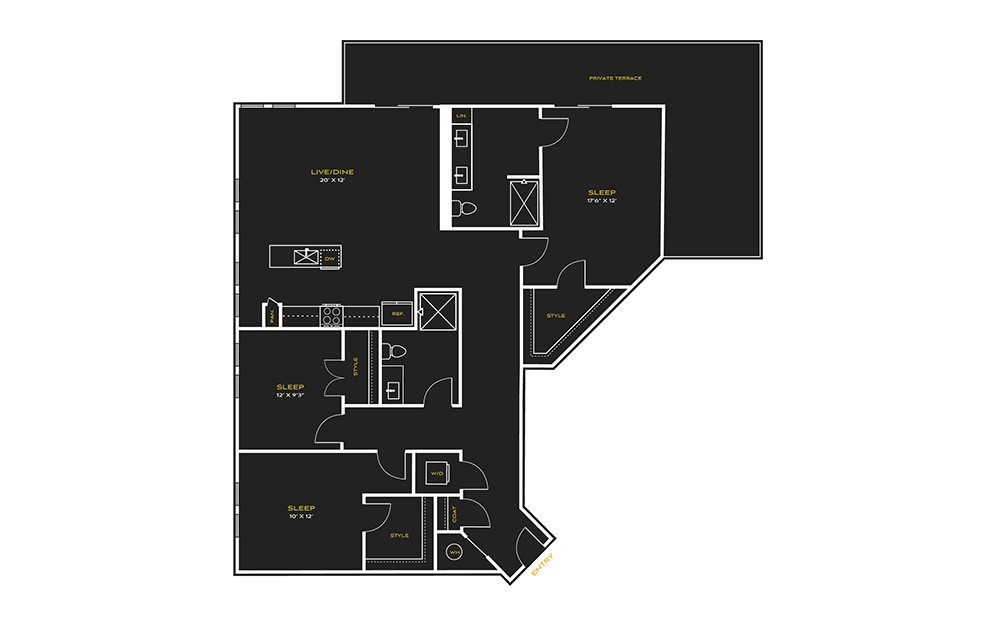 3B-A Type A - 3 bedroom floorplan layout with 2 baths and 1663 square feet.