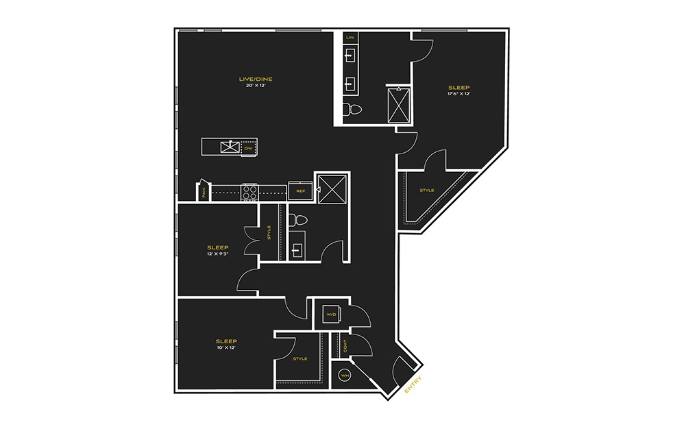 3B-A - 3 bedroom floorplan layout with 2 baths and 1663 square feet.