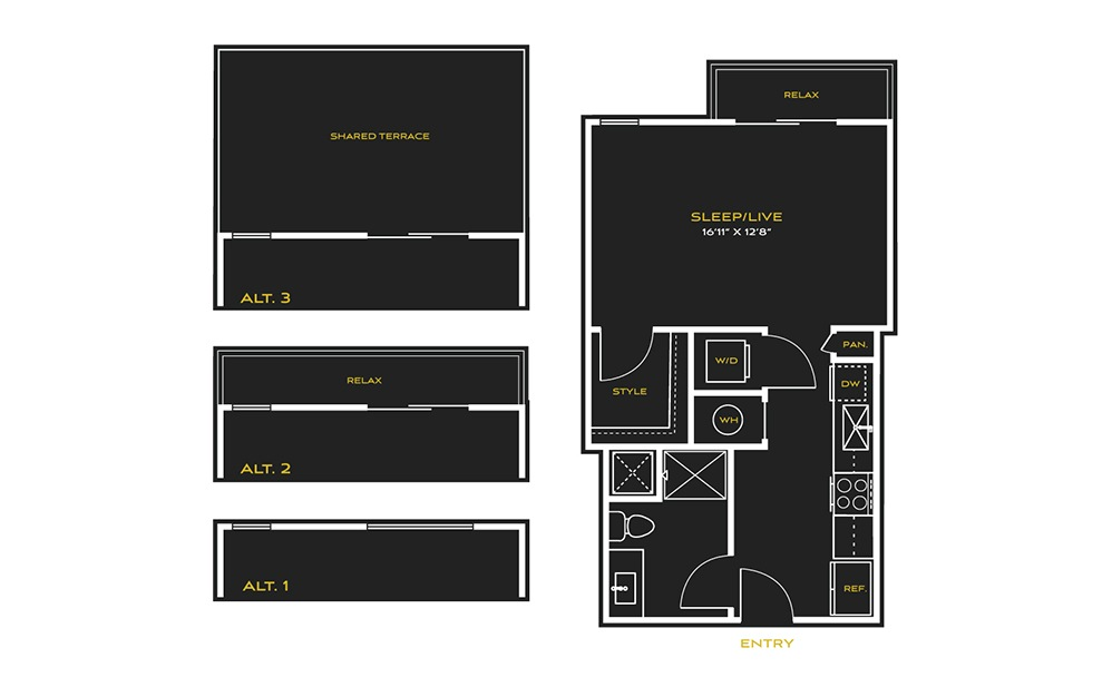 STUDIO A - Studio floorplan layout with 1 bath and 569 square feet.