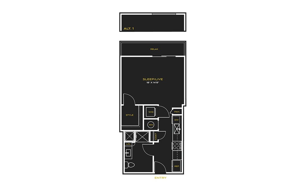 STUDIO B - Studio floorplan layout with 1 bath and 592 square feet.