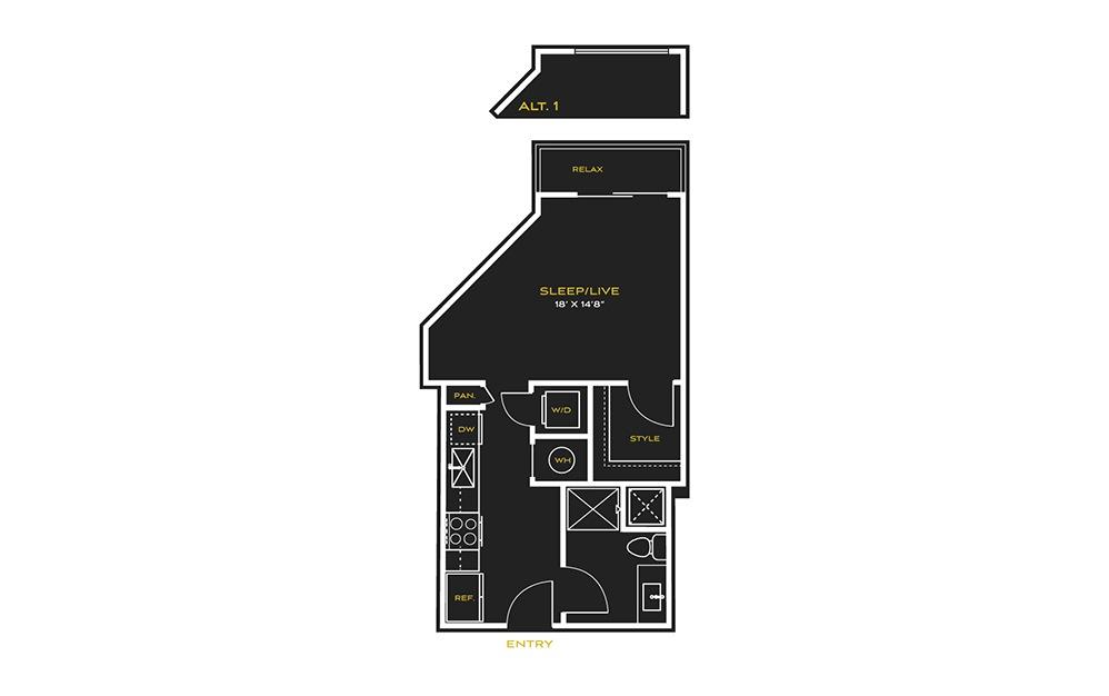 STUDIO C - Studio floorplan layout with 1 bath and 504 square feet.