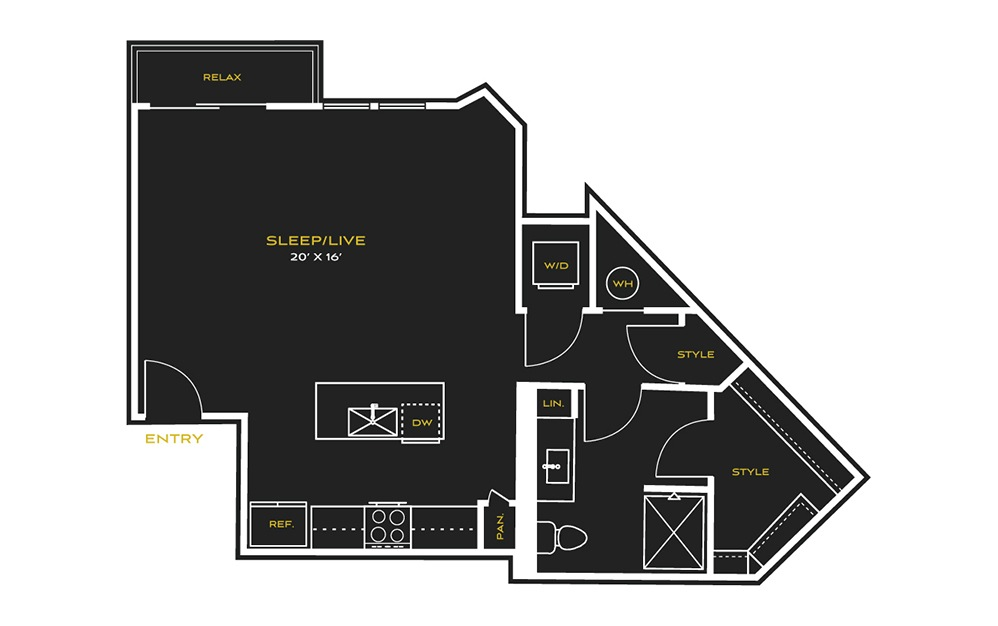 STUDIO D - Studio floorplan layout with 1 bath and 686 square feet.