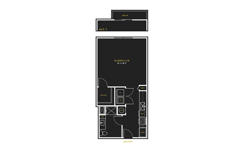 STUDIO G - Type A - Studio floorplan layout with 1 bath and 664 square feet.
