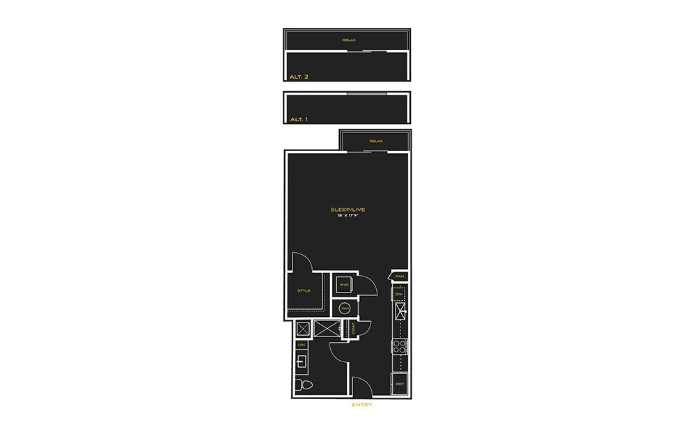 STUDIO G - Studio floorplan layout with 1 bath and 664 square feet.