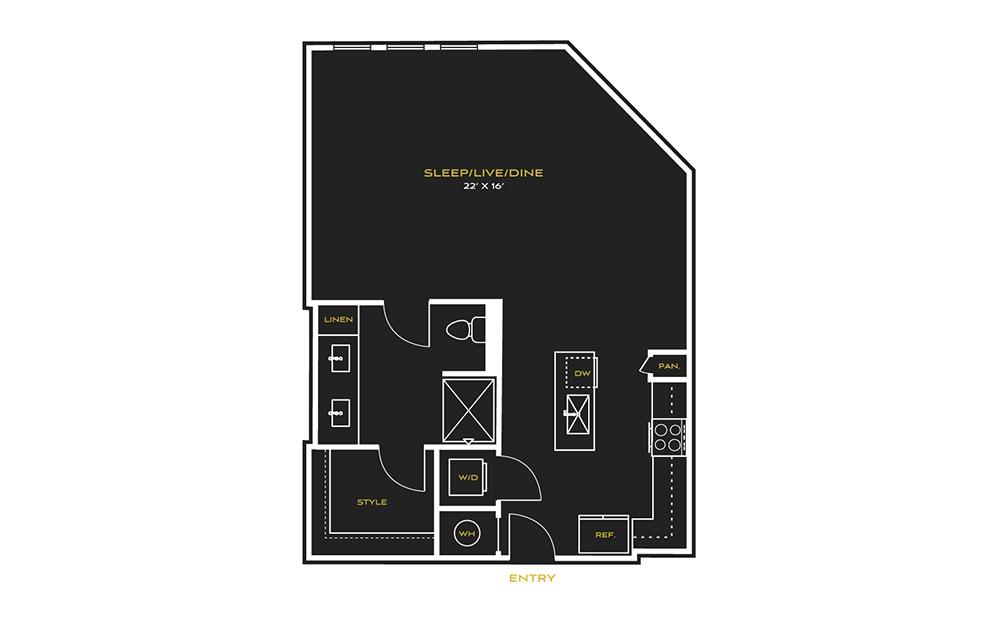 STUDIO H - Studio floorplan layout with 1 bath and 750 square feet.