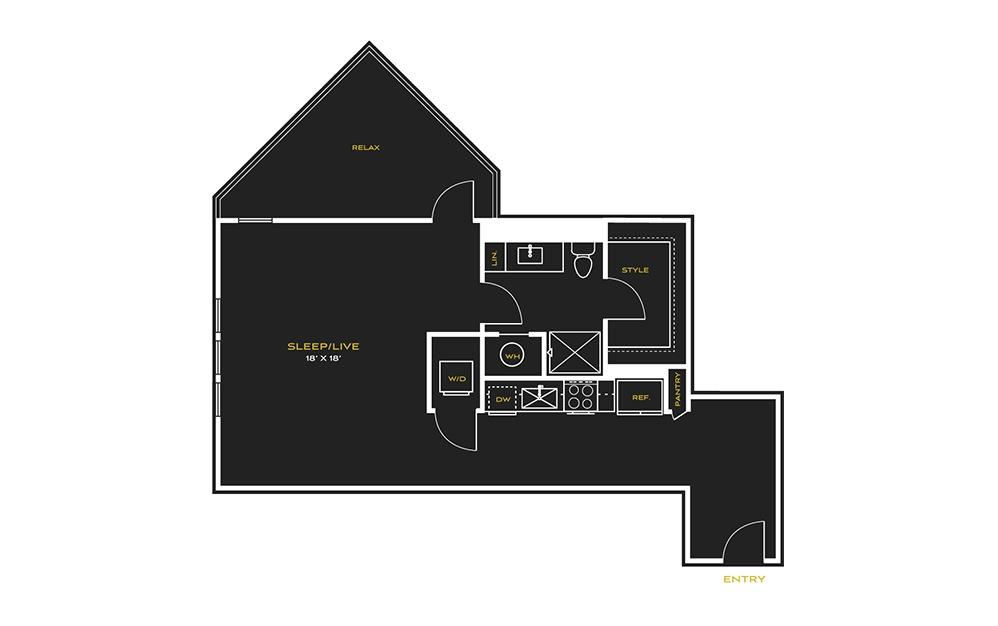 STUDIO J - Studio floorplan layout with 1 bath and 679 square feet.