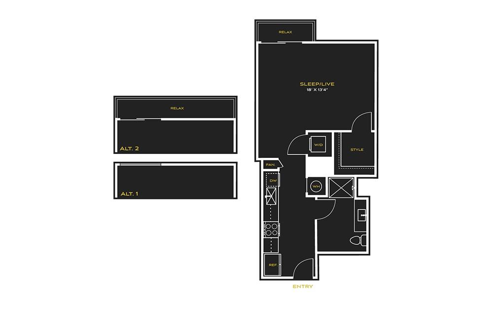 STUDIO K - Studio floorplan layout with 1 bath and 666 square feet.